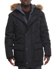 Outerwear - Long Parka Jacket w/ Bib Detail