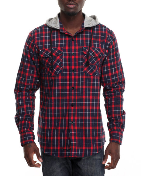 Buyers Picks - Men Navy,Red Parker Hooded Flannel