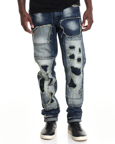 Heritage America - Men Medium Wash Heritage Distressed Denim Jeans