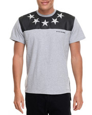 Shirts - Rich Gang Stars Faux Leather Trimmed S/S Tee