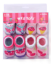 Girls - Sweet Shop 4 Pk Infant Booties (0-12 mths)