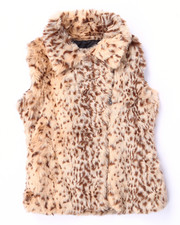 Girls - LEOPARD FAUX FUR VEST (7-16)