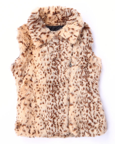 Catherine Malandrino - Girls Animal Print Leopard Faux Fur Vest (7-16)
