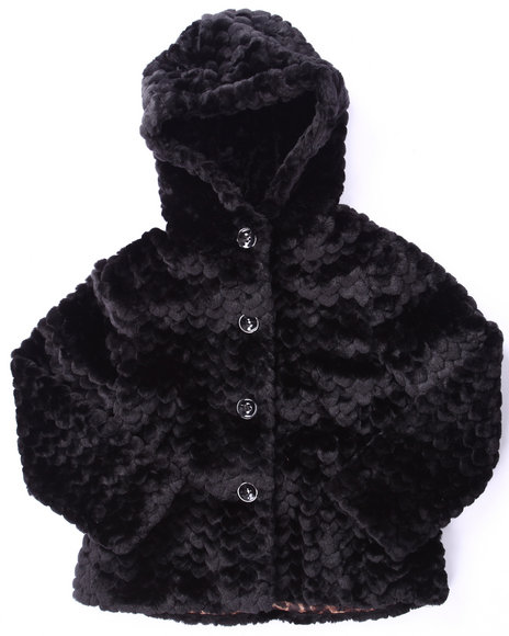 Catherine Malandrino Girls Faux Fur Jacket (716) Black 1416  (L)