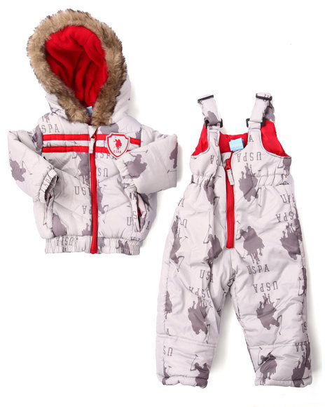U.S. Polo Assn. - Boys Grey Allover Print 2Pc Snowsuit W/ Faux Fur Trim (Infant)