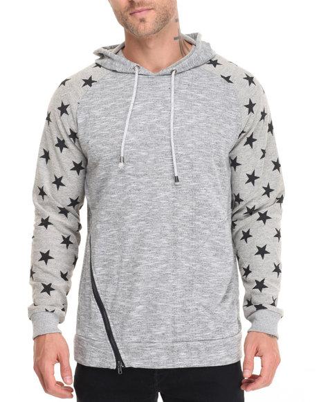 Buyers Picks - Men Grey Star Print Asymmetric Zip Hoody