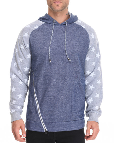 Buyers Picks - Men Navy Star Print Asymmetric Zip Hoody
