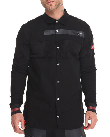 Vie + Riche - Men Black Super Mesh Paneled L/S Button - Down