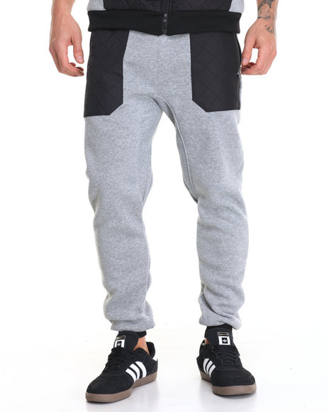 Buyers Picks - Men Grey Nylon Quilted Jogger