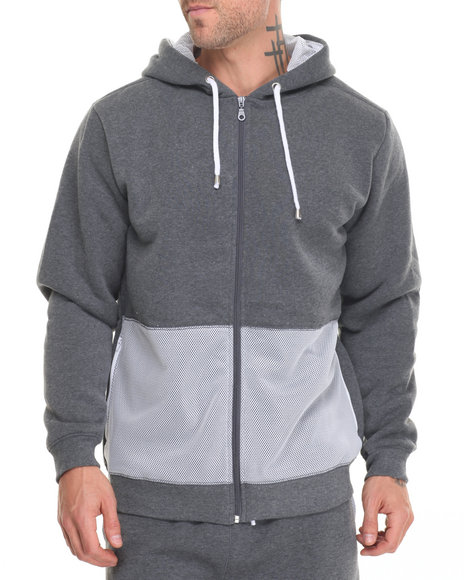 Buyers Picks - Men Grey,White Mesh Panel Hoody