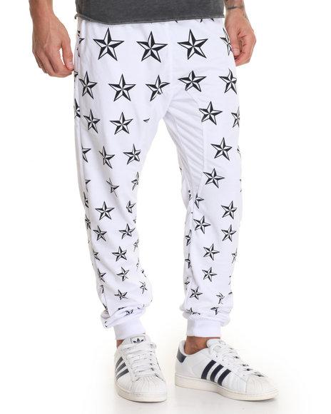 Buyers Picks - Men White All Over Star Print Jogger