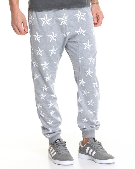 Buyers Picks - Men Grey All Over Star Print Jogger