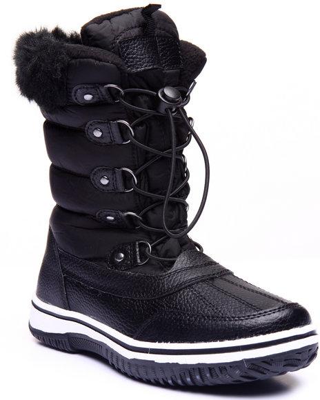 Fashion Lab - Women Black Slopes Faux Fur Weather Boot - $41.99