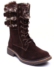 Fashion Lab - Pilsner Faux Fur Buckle Boot