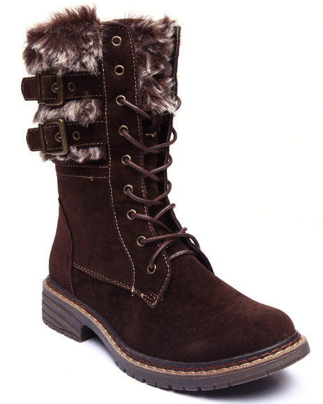 Fashion Lab - Women Brown Pilsner Faux Fur Buckle Boot