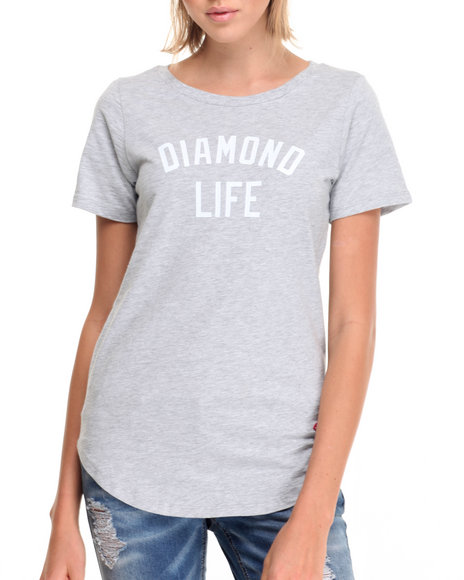 Diamond Supply Co - Women Grey Diamond Life Scallop Tee