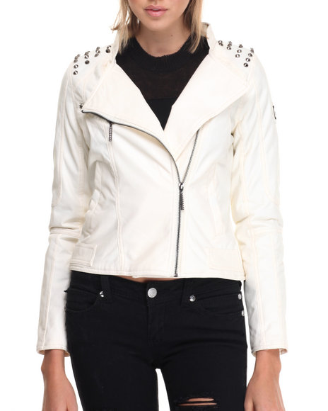 Rocawear - Women Ivory Vegan Leather Biker Jacket