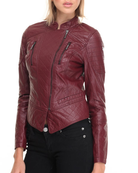 Rocawear - Women Red Vegan Leather Biker Jacket