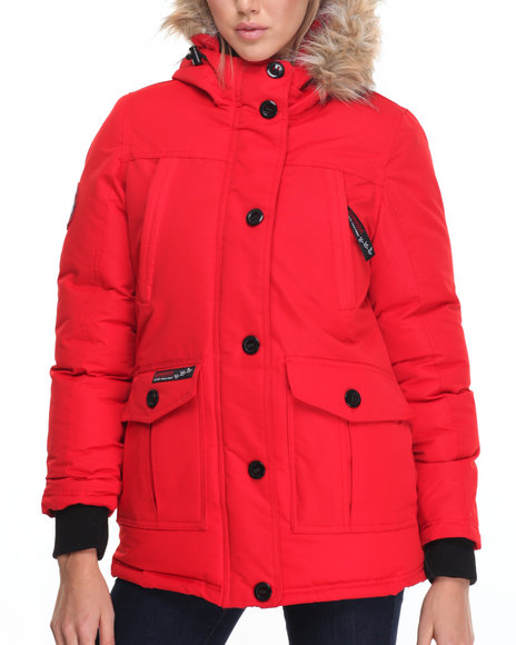 Fashion Lab Women Hooded Cargo Pockets Parka Red Medium