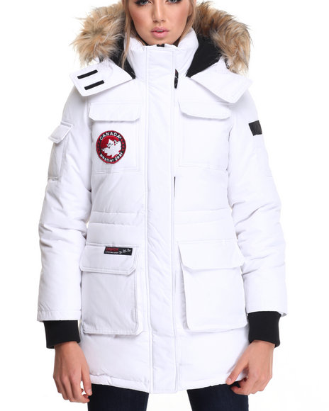 Fashion Lab Women 2 In 1 System Short Parka White Large