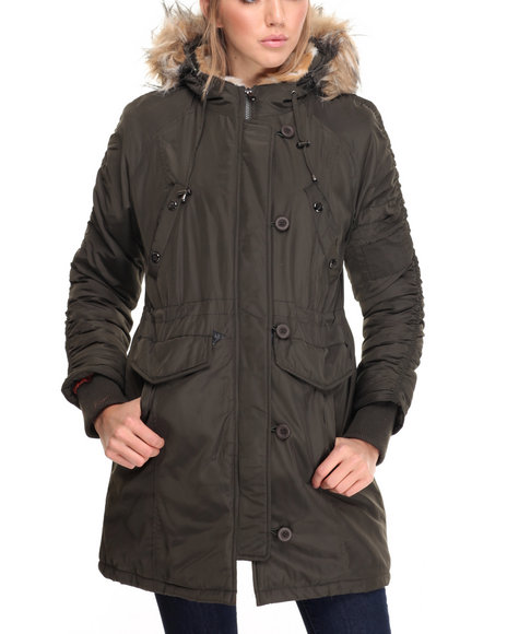 Steve Madden - Women Olive Heavy Weight Snorkel Coat W/ Ruched Sleeve Detail Faux Fur Trim Hood