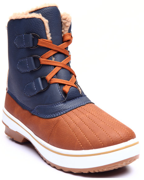 Fashion Lab - Women Navy,Tan Nordic Lace Up Water Resistant Boot