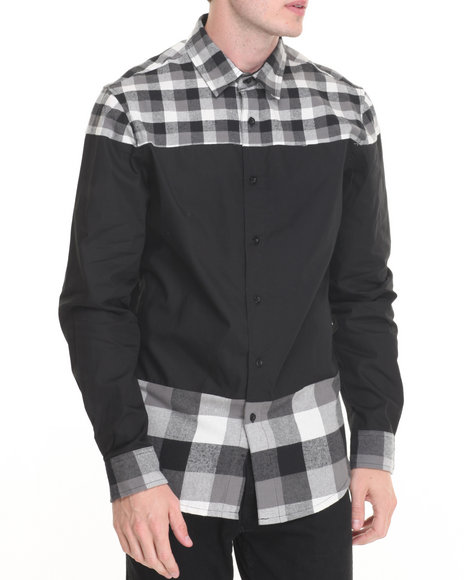 Buyers Picks - Men Black R - Sole Plaid / Poplin Button - Down