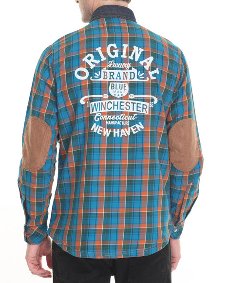 Winchester - Men Blue,Indigo Denim Front L/S Button-Down