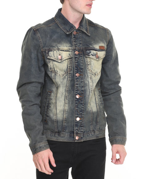 Winchester - Men Dark Wash Vintage Washed Denim Jacket - $68.00