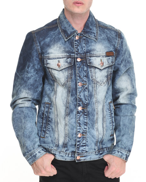 Winchester - Men Medium Wash Washed Denim Jacket - $68.00