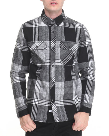 The Hundreds - Men Black,White Town Flannel Nano Coat Water Repellent L/S Button-Down