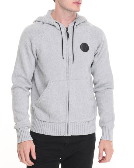 Lrg - Men Grey Rc Sweater Knit Zip Hoodie
