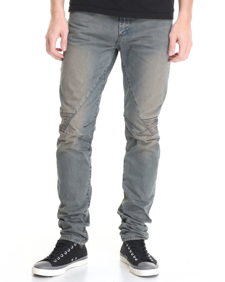 Pink Dolphin - Men Vintage Wash Oil Wash Biker Denim Jeans