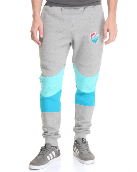 Pink Dolphin - Men Light Grey Waves French Terry Joggers
