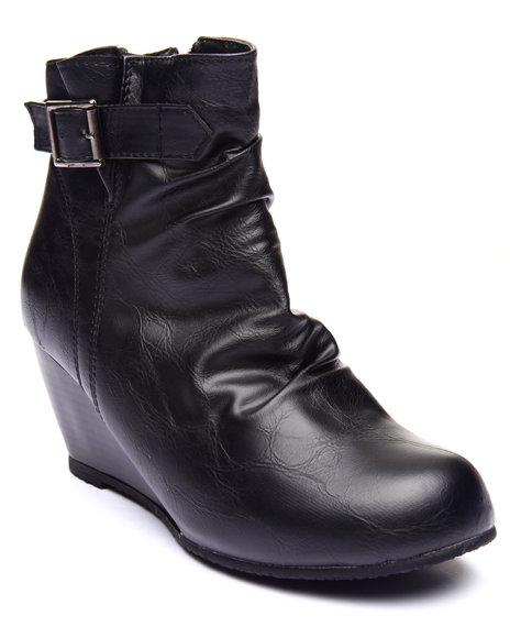 Basic Essentials - Women Black Minor Single Strap Wedge Boot