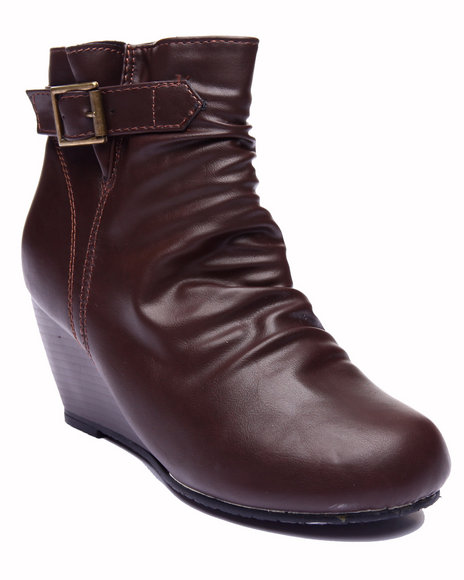 Basic Essentials - Women Brown Minor Single Strap Wedge Boot