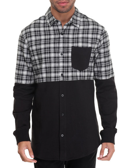 Buyers Picks - Men Black R - Sole Flannel / French Terry L/S Button - Down - $39.99