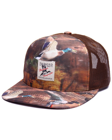 Diamond Supply Co Men Woodland Trucker Cap Brown