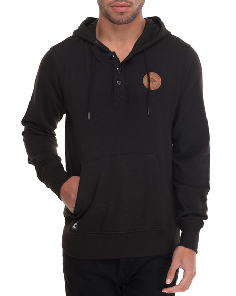Lrg - Men Black Rc Pullover Hooded Henley