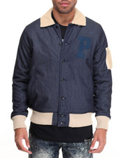 Outerwear - SHERPA - LINED DENIM BOMBER JACKET
