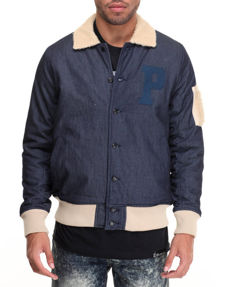 Pink Dolphin - Men Navy Sherpa - Lined Denim Bomber Jacket