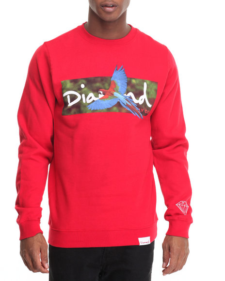 Diamond Supply Co - Men Red Tropical Crewneck Sweatshirt