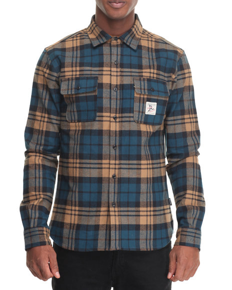 Diamond Supply Co - Men Brown Caribou Flannel Plaid L/S Button-Down - $65.99