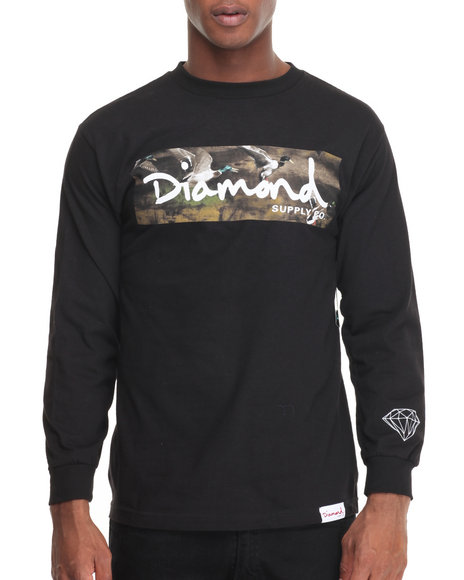 Diamond Supply Co - Men Black Woodland L/S Tee - $38.00