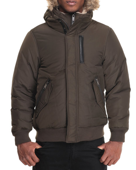 Steve Madden - Men Olive Fashion Bomber Jacket W/ Zip-Out Bib
