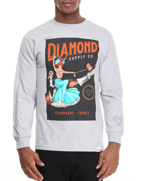 Diamond Supply Co - Men Grey Champagne France L/S Tee - $38.00