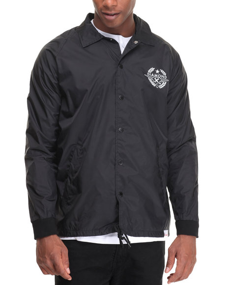 Diamond Supply Co - Men Black Shine Crest Coach's Jacket