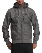Men - Faux Leather Jacket w/ Attached fleece Hoody