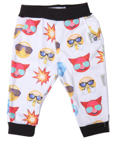 Akademiks - Boys White Emoji Allover Print Jogger (Infant)