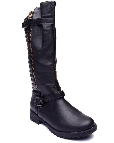 Basic Essentials - Women Black Royal Zip Up Buckle Boot